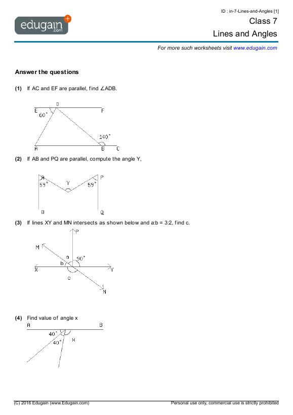 Math Worksheets Grade 3 Angles