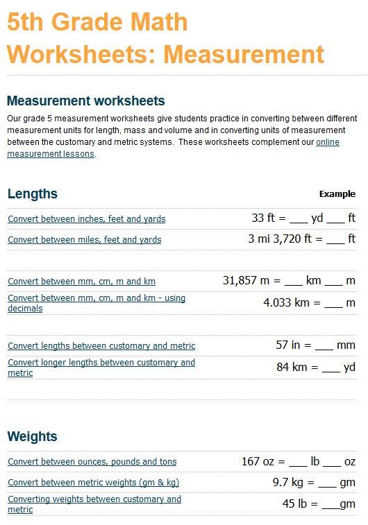 Grade 5 Measurement Worksheets