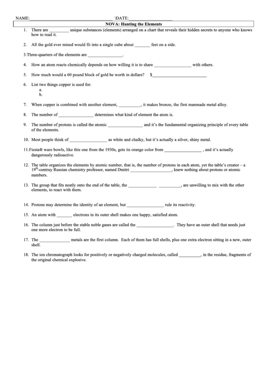Answers To Nova Hunting The Elements Worksheets