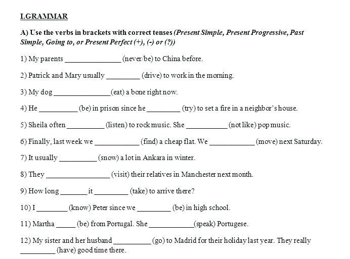 Perfect Verb Tense Worksheets 5th Grade Verb Tense Worksheets
