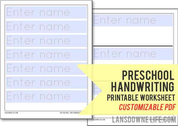 Preschool Handwriting Worksheet  Free Printable!