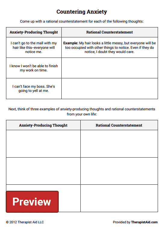 Countering Anxiety (thought Log) (worksheet)
