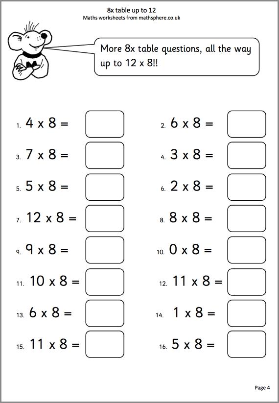 Printable Math Worksheets Year 3