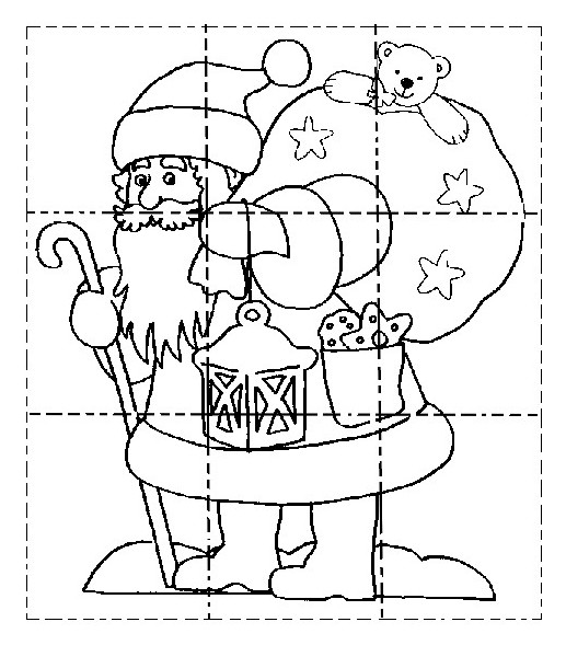 Coloring Page Preschool Worksheets Christmas   Puzzle  Santa Claus 1