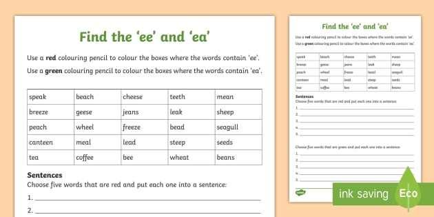 Find The 'ee' And 'ea' Worksheet