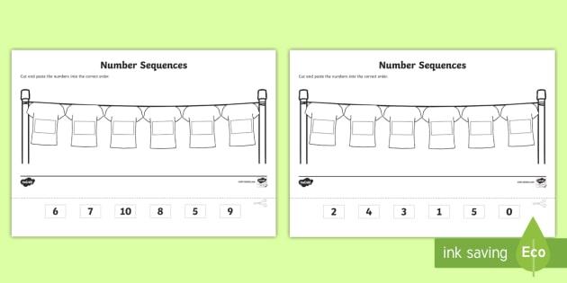 Cut And Paste Number Sequencing Worksheet   Worksheets