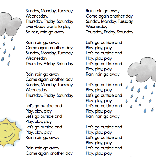 Classroom Classics  Rain Rain Go Away  Lyric Sheet