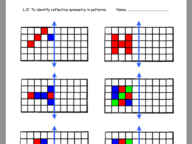Differentiated Worksheets On Reflective Symmetry By Georgia_77