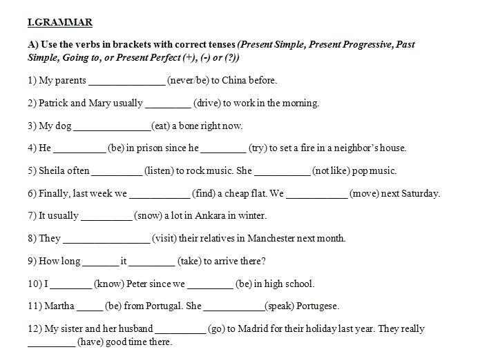 5th Grade Verb Tense Worksheets