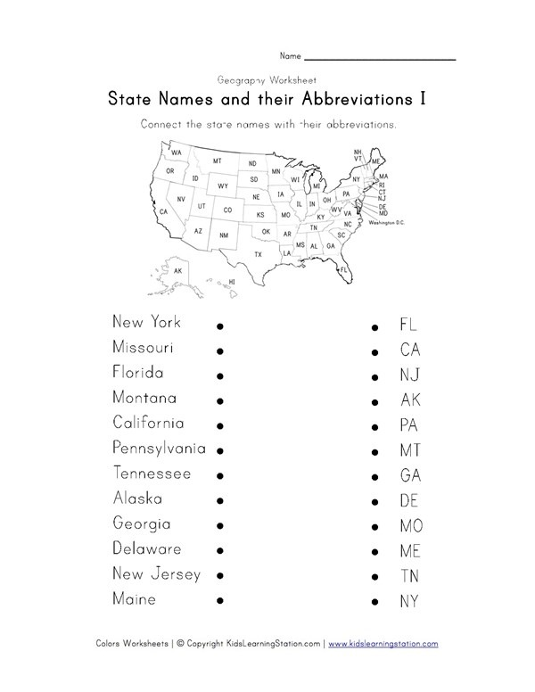 State Abbreviations Worksheet 1