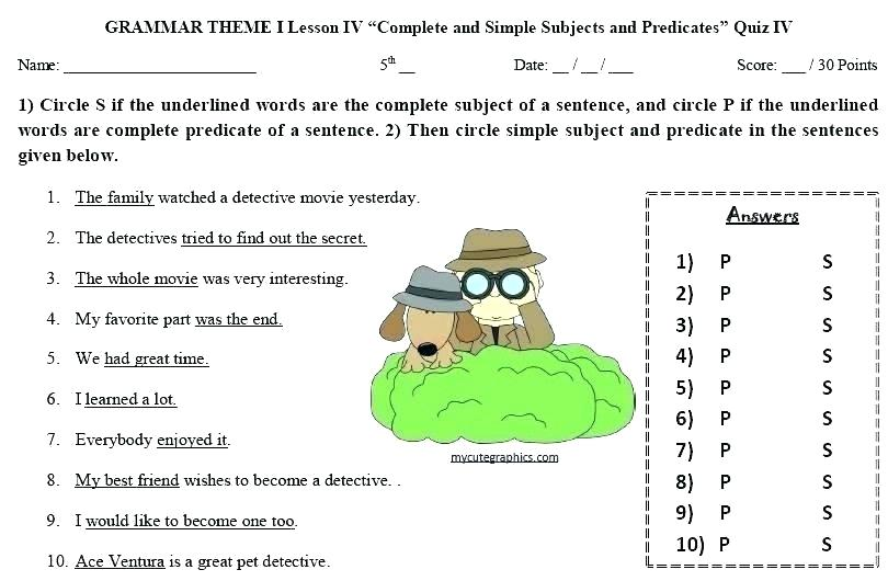 Subject And Predicate Worksheet Worksheets Simple At Complete