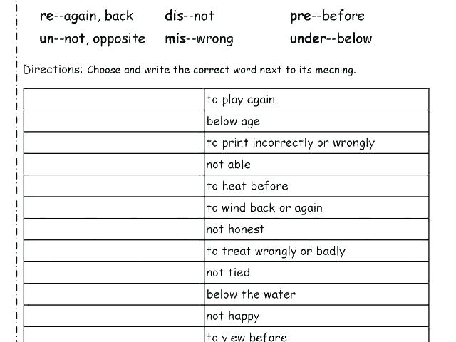Free Prefix Worksheets 6th Grade