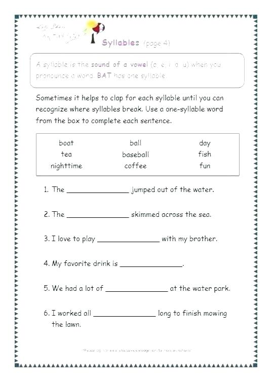 Stressed And Unstressed Syllables Worksheets – Openlayers Co