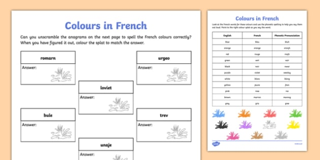 French Colours Worksheet   Worksheet