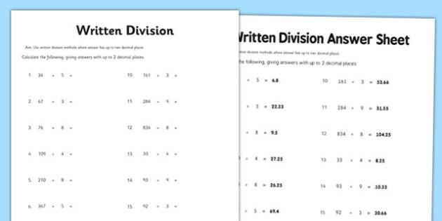Year 6 Written Division 2 Decimal Places Worksheet   Worksheet