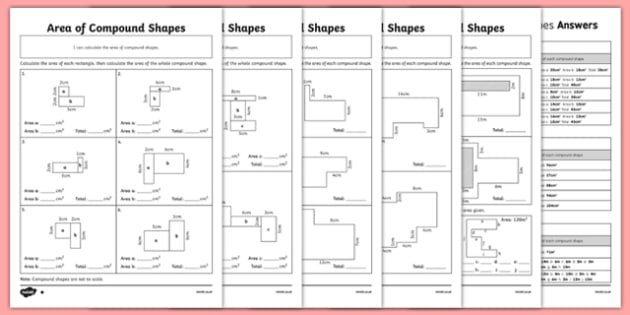 Calculating The Area Of Compound Shapes Worksheet Pack
