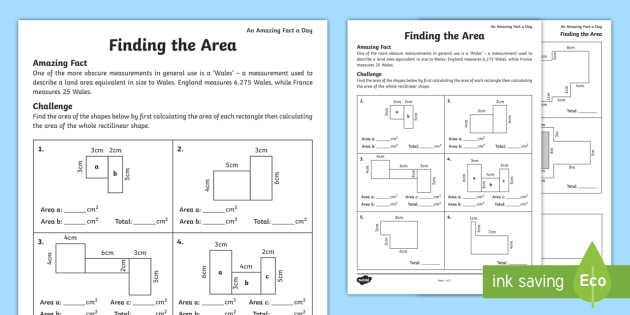 Finding The Area Worksheet   Worksheet