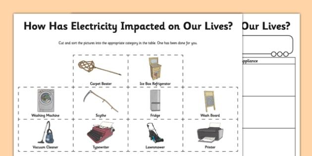 Impact Of Electricity Worksheet   Worksheet