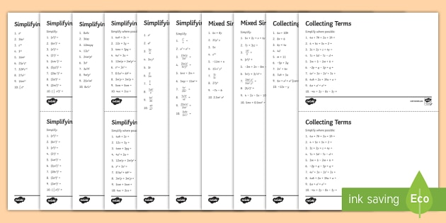 Simplifying Algebraic Expressions Worksheets Ks3 Maths Resources
