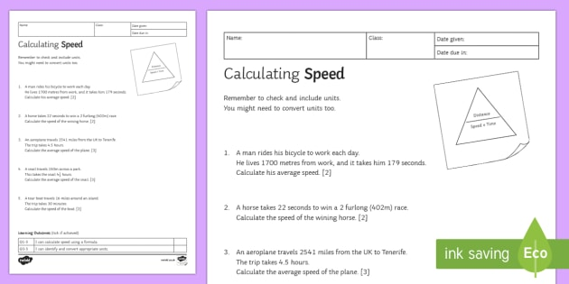 Calculating Speed, Time & Distance Worksheet
