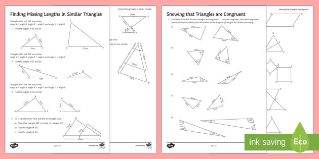 Similarity And Congruence Worksheet   Worksheets