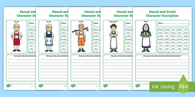 Hansel And Gretel Character Description Worksheets