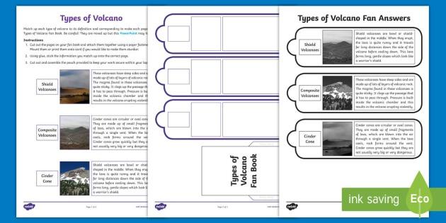 Types Of Volcano Fan Book Worksheet   Worksheet