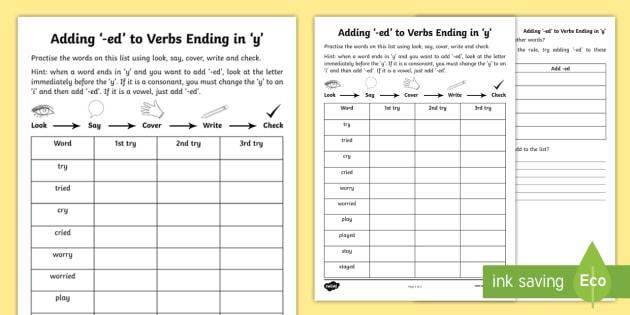 Year 2 Spelling Practice Adding '