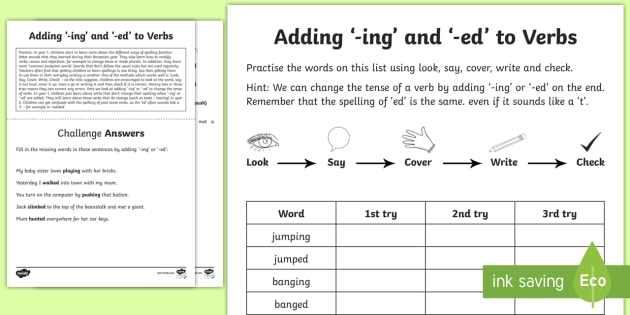 Year 1 Spelling Practice Adding '