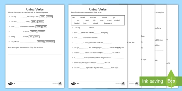 Ks1 Using Verbs Differentiated Worksheet   Worksheet
