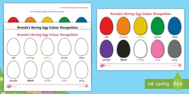 Egg Colour Recognition Worksheet   Worksheets