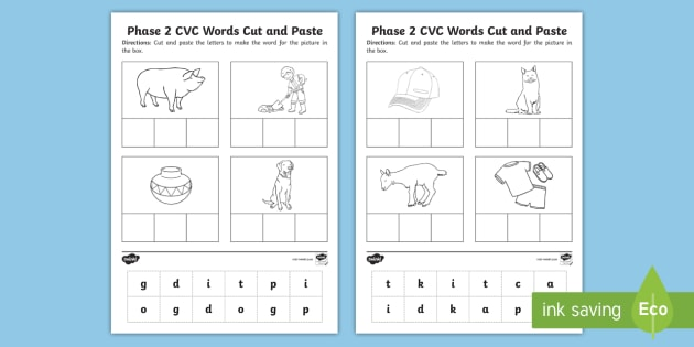 Phase 2 Set 3 Cvc Words Cut And Paste Worksheet   Worksheet