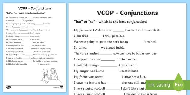 But' And 'so' Conjunctions Worksheet   Worksheet