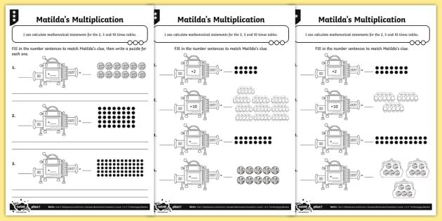 Writing Multiplication Sentences Differentiated Worksheet   Worksheets