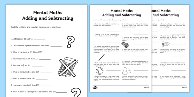 Mental Maths Addition And Subtraction Worksheet   Worksheet Pack