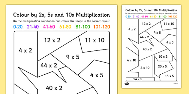 Mixed Color By 2s, 5s And 10s Multiplication Worksheet   Worksheet