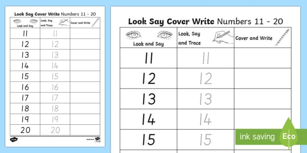 Number Formation 11 To 20 Look, Trace And Write Worksheet   Worksheet
