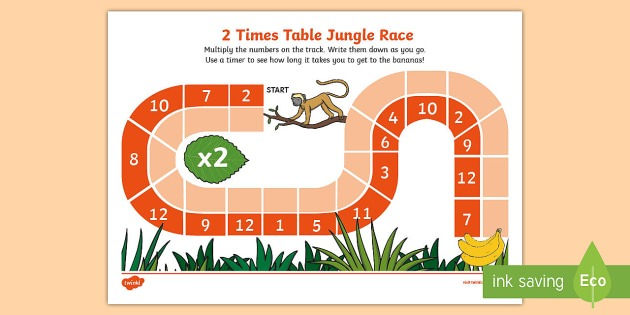 2 Times Table Jungle Race Worksheet   Worksheet