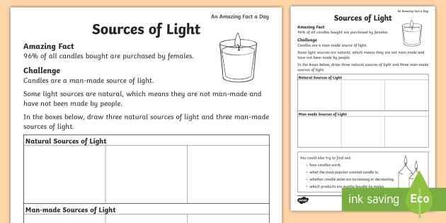Sources Of Light Worksheet