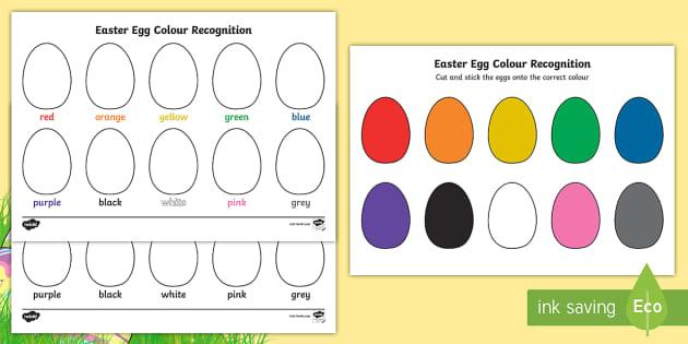Easter Egg Colour Recognition Worksheet   Worksheets