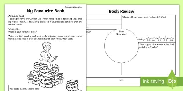 My Favorite Book Worksheet   Worksheet