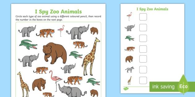 I Spy Zoo Animals Worksheet   Worksheet