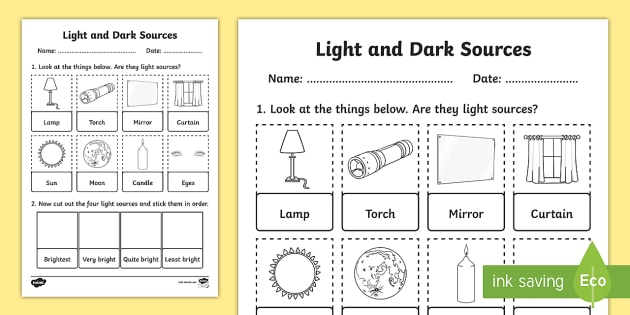 Light And Dark Sources Cut And Stick Worksheet