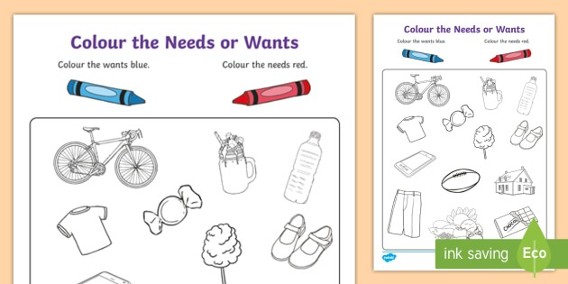 Color The Needs Or Wants Worksheet
