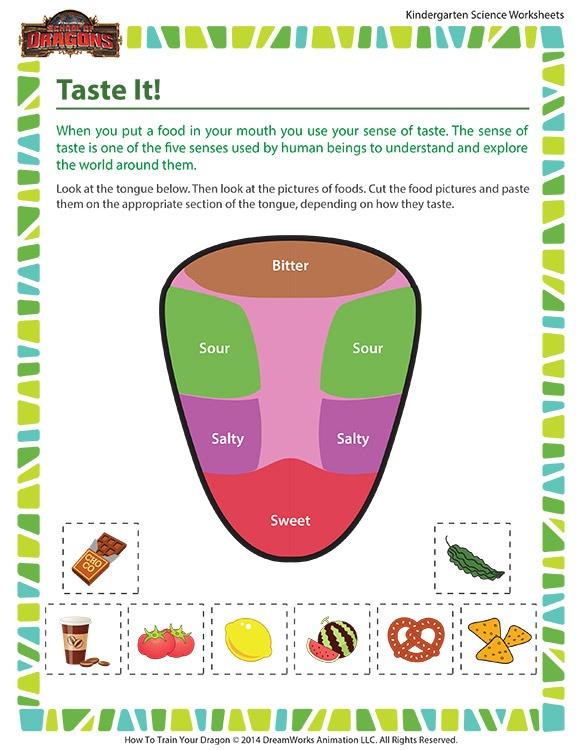 Taste It! Worksheet – Human Body Science For Kindergartners – Sod