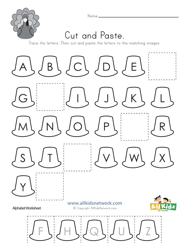 Thanksgiving Cut And Paste Missing Letters Worksheet