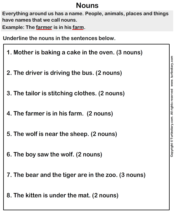 Underline The Nouns Worksheet