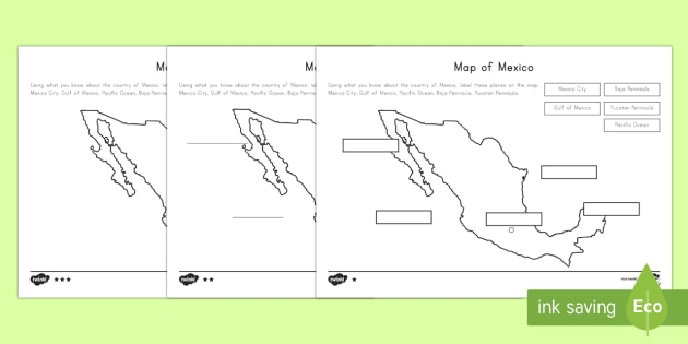 Middle Ability Map Of Mexico Differentiated Worksheets