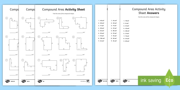 Compound Area Differentiated Worksheet   Worksheets