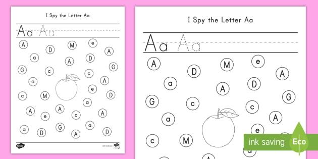 I Spy The Letter Aa Worksheet